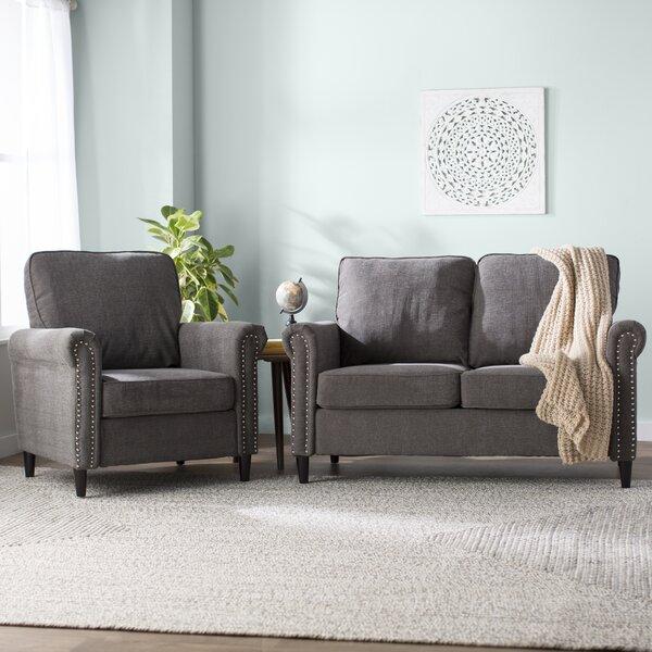 Hayton Fabric Modern 2 Piece Living Room Set by Charlton Home