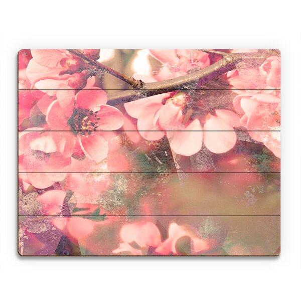 Wood Slats Sakura Flowers Photographic Print on Plaque by Click Wall Art