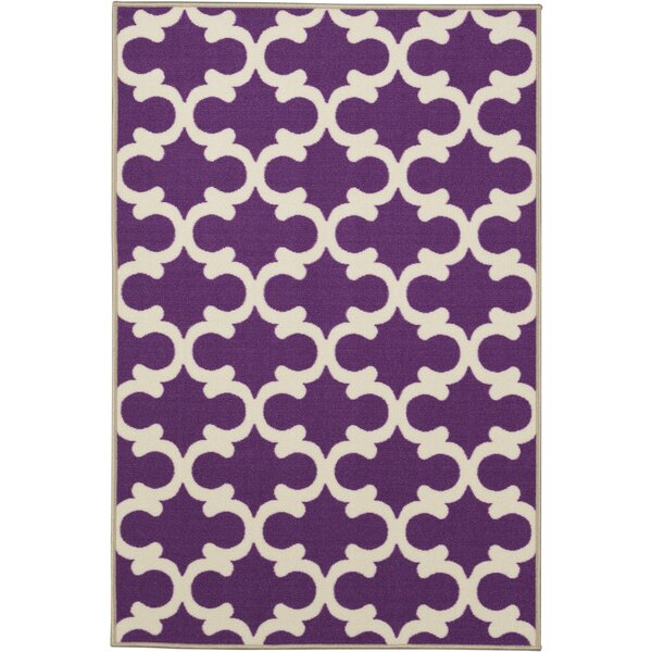 Fetzer Contemporary Purple Moroccan Trellis Area Rug by Ebern Designs