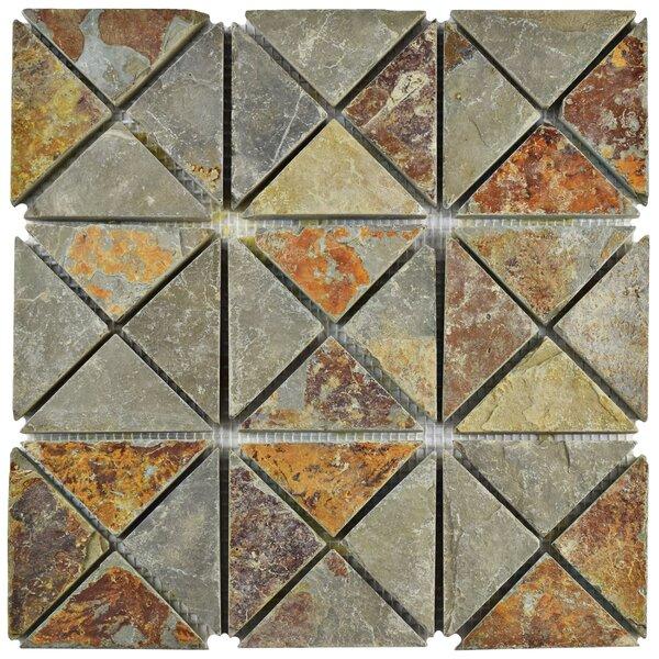 Peak TriSquare Random Sized Slate Mosaic Tile