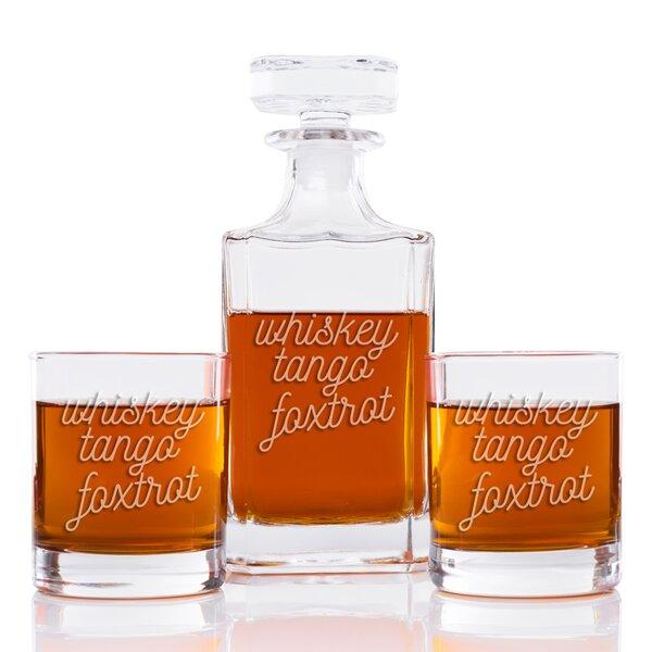 Elem Whiskey Tango Foxtrot Modern Square 3 Piece Beverage Serving Set by Ivy Bronx