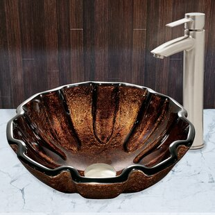 Great choice Walnut Shell Glass Circular Vessel Bathroom Sink with Faucet By VIGO
