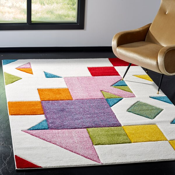 Severs Ivory/Rose Area Rug by Wrought Studio