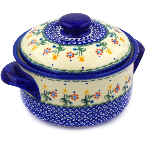 Spring Flowers Round Non-Stick Polish Pottery Baker with Cover by Polmedia