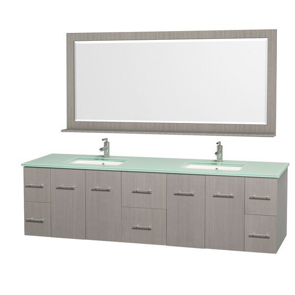 Centra 80 Double Gray Oak Bathroom Vanity Set with Mirror by Wyndham Collection