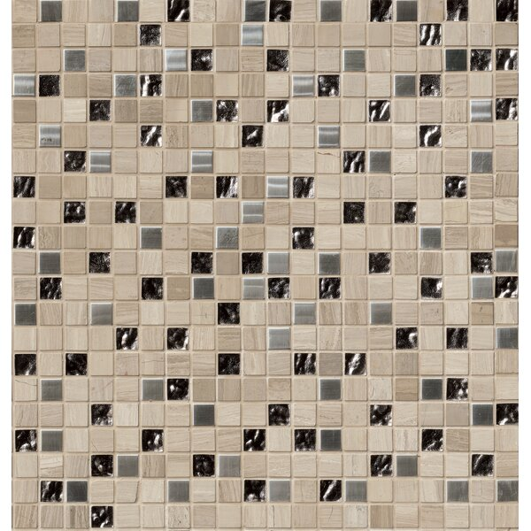 1 x 1 Glass/Stone/Metal Mosaic Tile in Gray by MSI