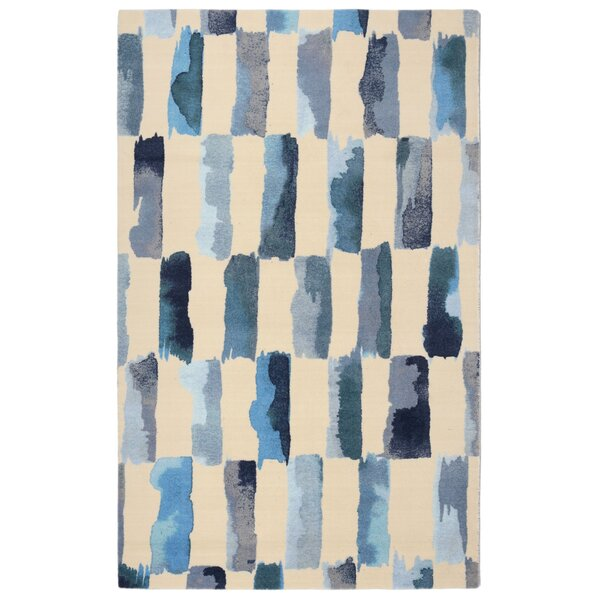 Nadia Painted Weave Contemporary Modern Turquoise/Gray Area Rug by Langley Street