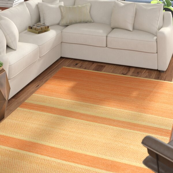 Duhart Orange/Lime Striped Rug by Mercury Row
