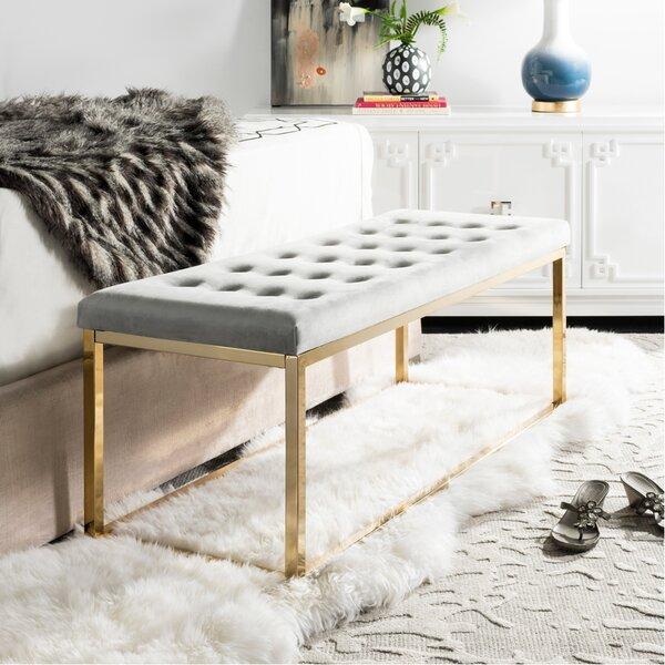 Hayse Velvet Upholstered Bench by Mercer41 Mercer41