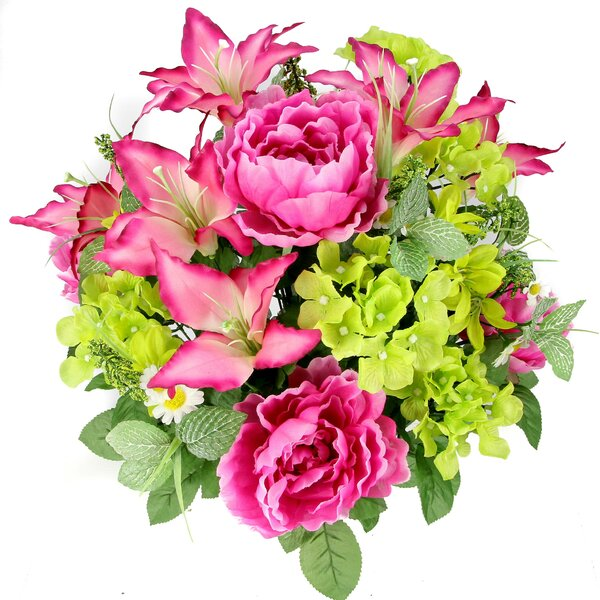 24 Stems Artificial Full Blooming Tiger Lily, Peony and Hydrangea Mixed Bush with Green Foliage by Three Posts