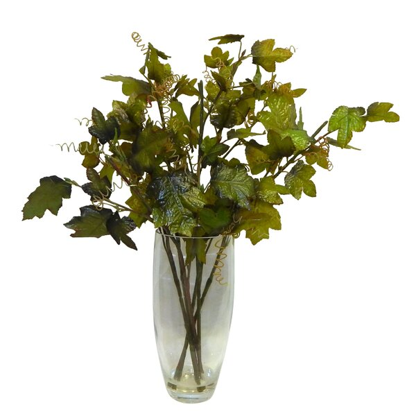 Fresh Cut Greenery Glass Mixed Floral Arrangement in Vase by Bay Isle Home