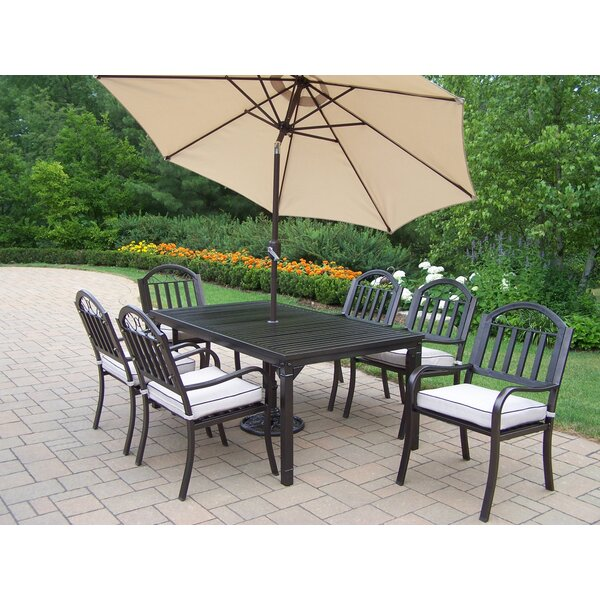 Lisabeth Contemporary 9 Piece Dining Set with Cushions and Umbrella by Red Barrel Studio