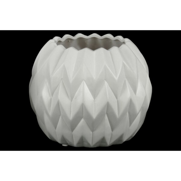 Fore Embossed Wavy Patterned Ceramic Table Vase by Wrought Studio