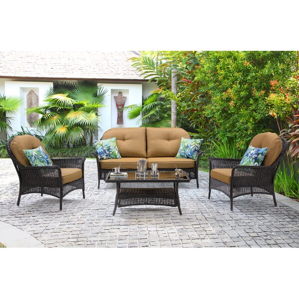 Dominquez 4 Piece Rattan Sofa Seating Group with Cushions by Darby Home Co
