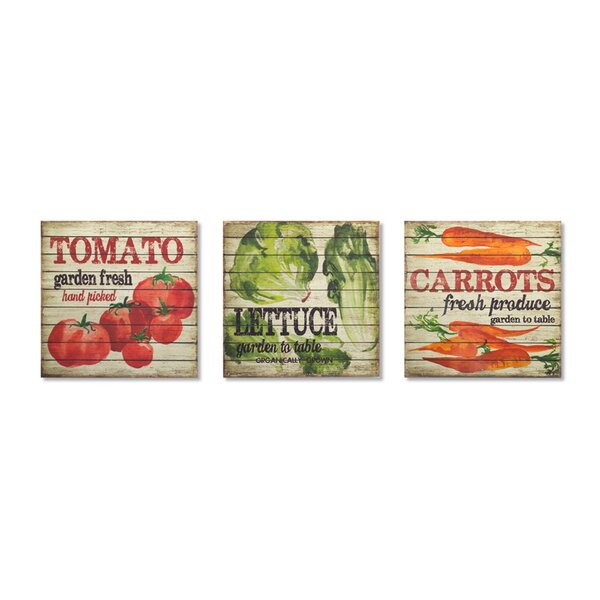 Vegetable 3 Piece Graphic Art Print on Wood Set by Melrose International