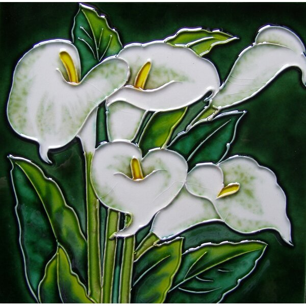 8 x 8 Ceramic White Callas Lily Decorative Mural Tile by Continental Art Center