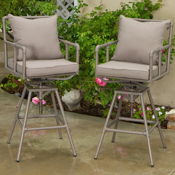 Trace Adjustable Height Patio Bar Stool with Cushions (Set of 2) by Latitude Run