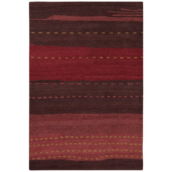 Cora Hand-Woven Red/Brown Area Rug by Ebern Designs