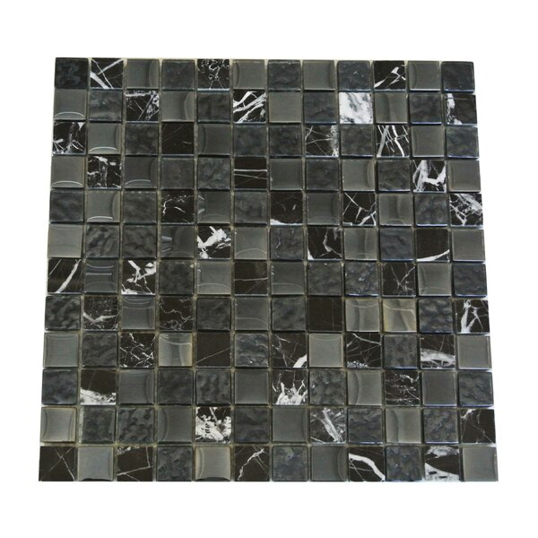 Quartz 1 x 1 Glass and Stone  Mosaic Tile in Black by Abolos