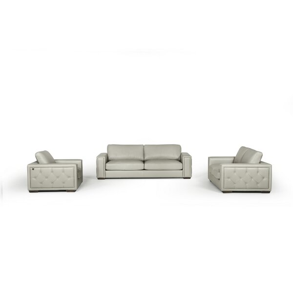Proffitt 3 Piece Leather Living Room Set by Orren Ellis