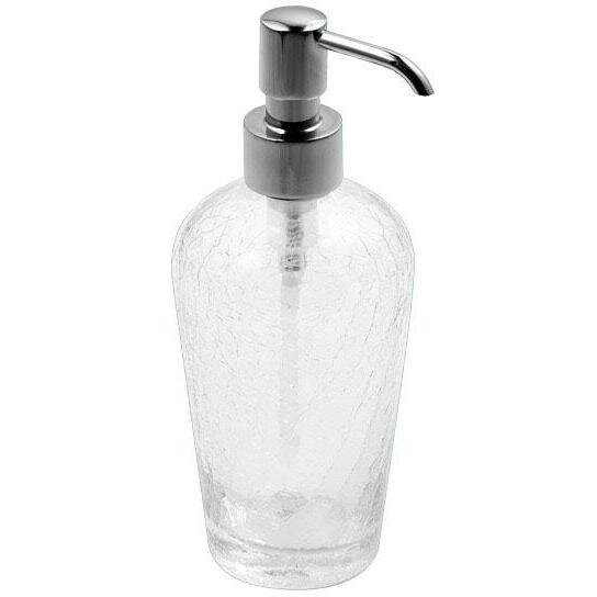 Petunia Crackled Glass Standing Pump Bath Soap & Lotion Dispenser by Rosdorf Park