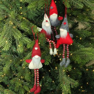 plush decorative gnome christmas ornaments 4 piece hanging figurine set set of 4 - Extra Large Christmas Ornaments