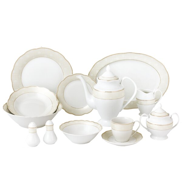 Wavy 57 Piece Dinnerware Set Service for 8 by Lorren Home Trends