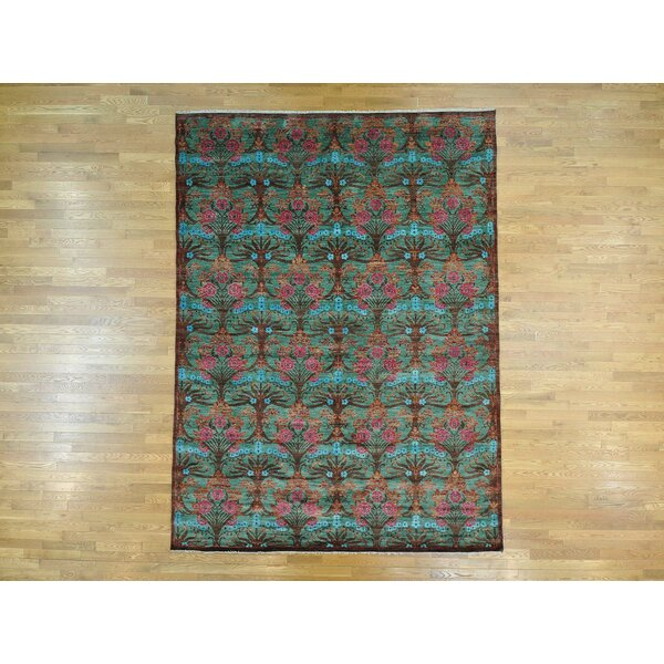 One-of-a-Kind Bolander Handwoven Green Wool Area Rug by Isabelline