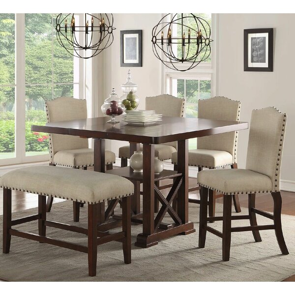 Amelie II 6 Piece Counter Height Extendable Dining Set by Infini Furnishings