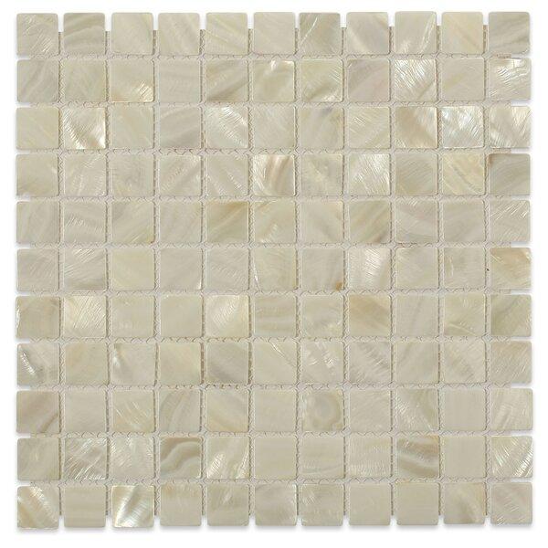 Castel Del Monte 1 x 1 Glass Pearl Shell Mosaic Tile in White by Splashback Tile