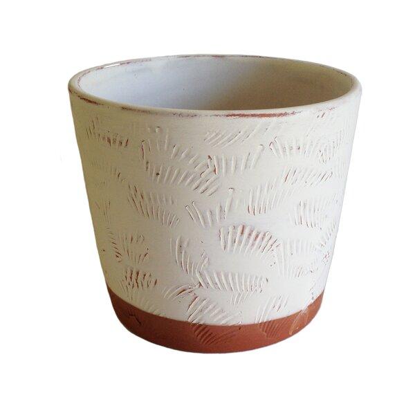 Hazeltine Shell Cylinder Clay Pot Planter by Highland Dunes