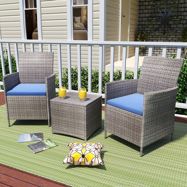 Kelci 3 Piece Seating Group with Cushions by Ebern Designs