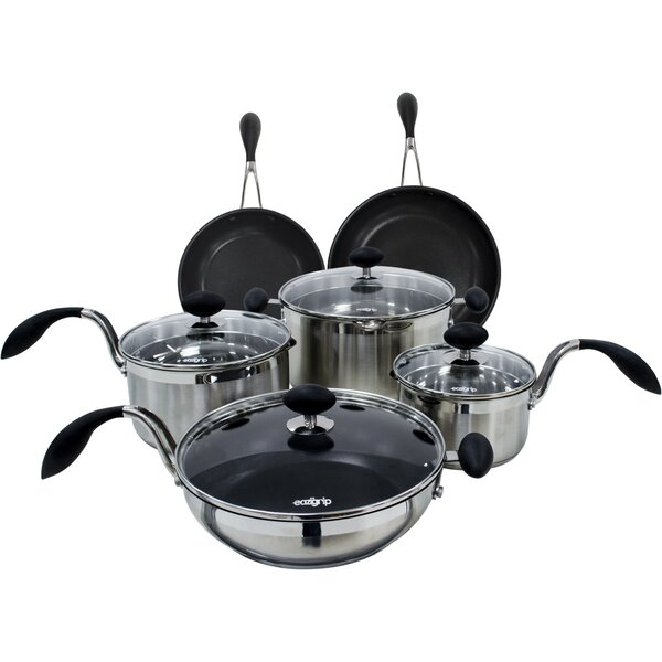 10 Piece Non-Stick Stainless Steel Cookware Set by EAZIGRIP
