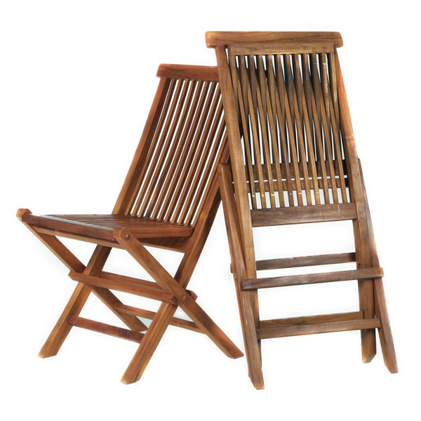 Humphrey Folding Teak Patio Dining Chair (Set of 2) by Longshore Tides