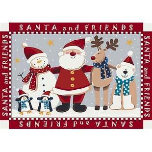 Check Prices Norsworthy Santa and Friends Christmas Red Area Rug ByThe Holiday Aisle