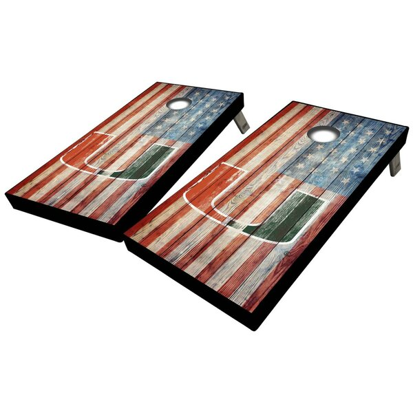 University of Miami American Flag 10 Piece Cornhole Set by West Georgia Cornhole