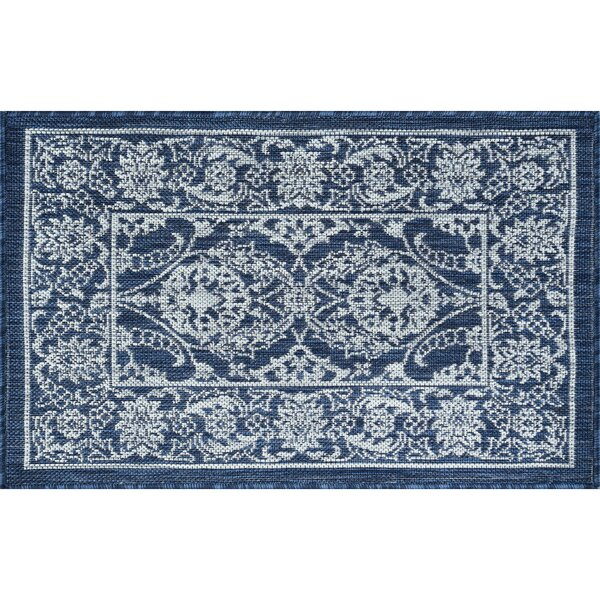 Haywards Traditional Border Navy Indoor/Outdoor Area Rug by Alcott Hill