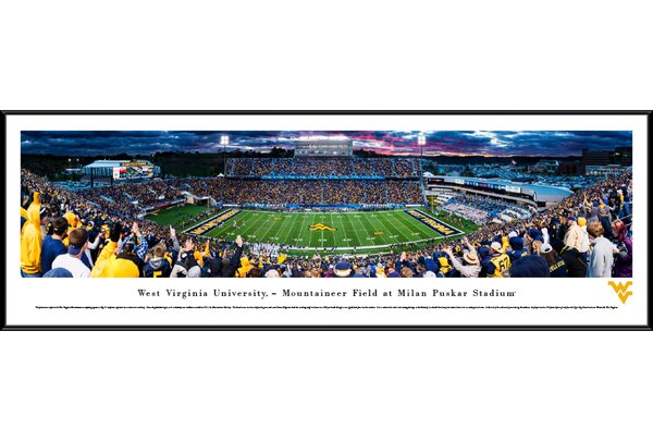 NCAA West Virginia Football 50 Yard Line Framed Photographic Print by Blakeway Worldwide Panoramas, Inc