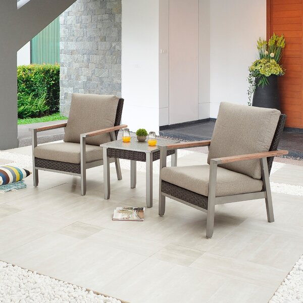 Sevdi Outdoor 3 Piece Seating Group with Cushions by Latitude Run