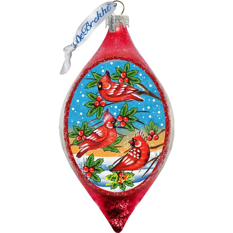 The Holiday Aisle Cardinal Friends Glass Finial Ornament Holiday Splendor Collection Wayfair