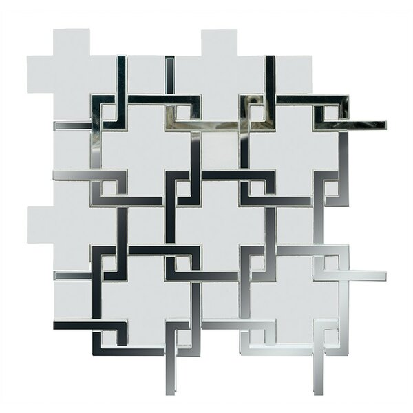 Water Jet Thassos Marble and Mirror Glass Mosaic Tile in White by Katania Tile