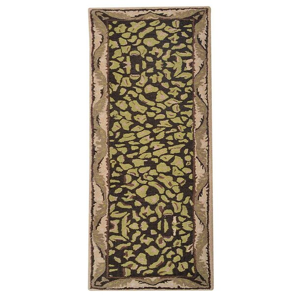 Roselia Hand-Tufted Wool Brown/Green Area Rug by World Menagerie