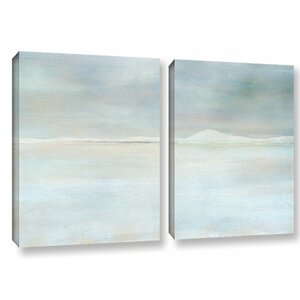 Landscape Snow 2 Piece Painting Print on Wrapped Canvas Set by Ivy Bronx