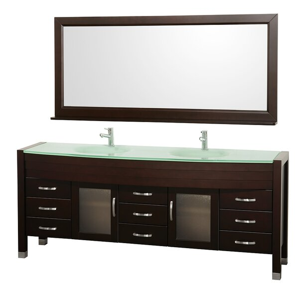 Daytona 78 Double Espresso Bathroom Vanity Set with Mirror by Wyndham Collection