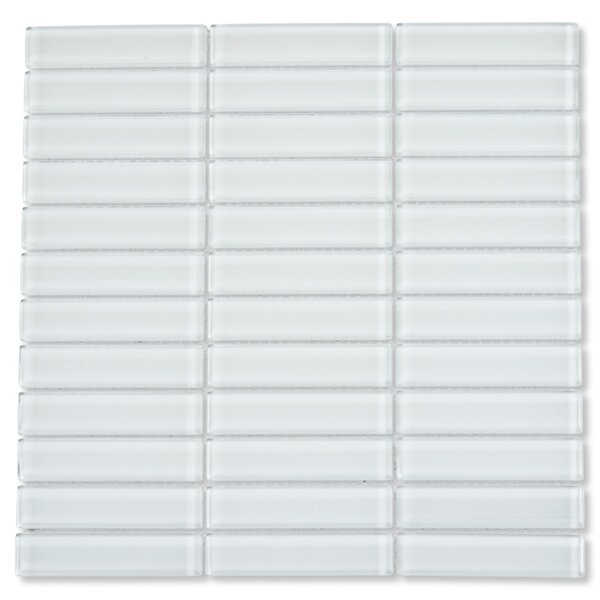 Oxygen 1 x 4 Glass Mosaic Tile in White by CNK Tile