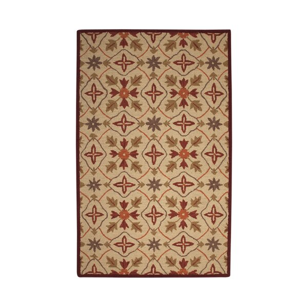 Agustine Beige/Red Area Rug by Bloomsbury Market