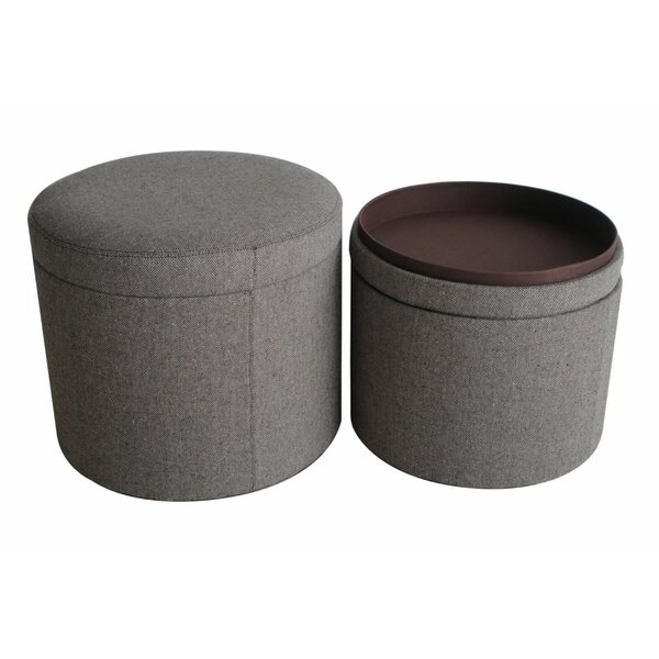 Oviedo 2 Piece Classic Round Upholstered Storage Ottoman Set By Red Barrel Studio