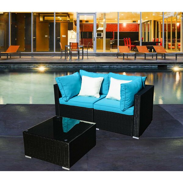 Chewelah 3 Piece Rattan Sofa Seating Group with Cushions by Red Barrel Studio