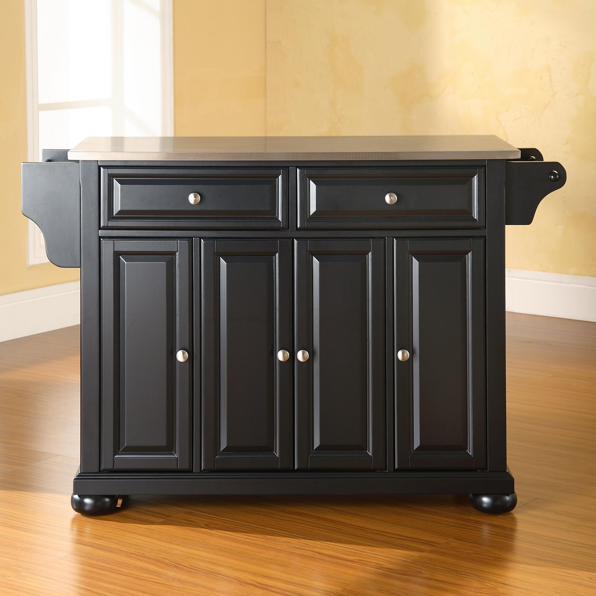 Darby Home Co Pottstown Kitchen Island with Stainless Steel Top