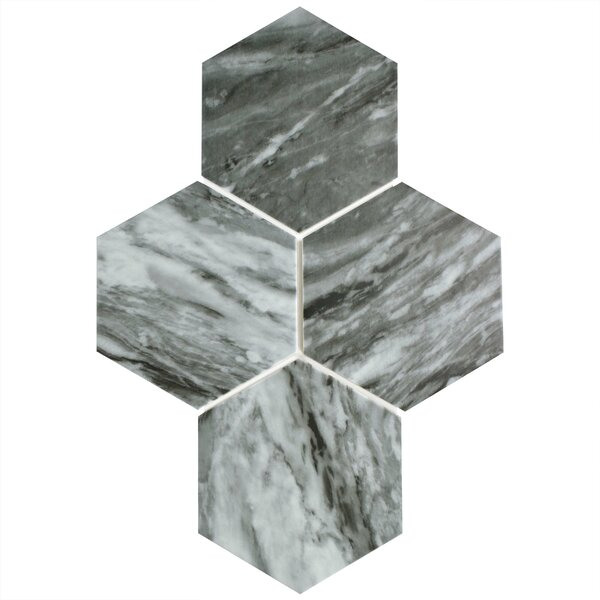 Karra Hexagon 7 x 8 Porcelain Field Tile in Gray/White by EliteTile
